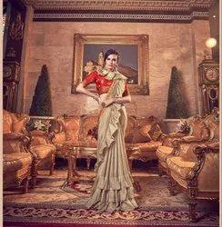 Latest Designer Frill Pattern Vichitra Silk Saree With Fancy Blouse
