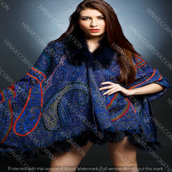 Pure Fine Wool Fur Collar Cape