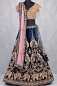 Semi Stitched Embroidered Bridal Wear Blue Color With Heavy Embroidery Work Lahenga Choli, Size: Xxl