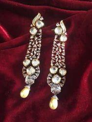 ABDESIGNS White Western American Diamond Earring, Size: 3.5