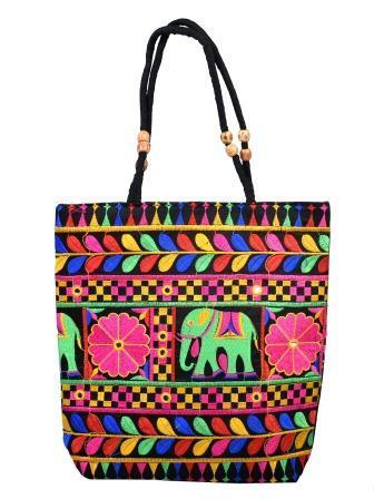 Ladies Traditional Embroidery Elephant Design Hand Bag At Rs 249