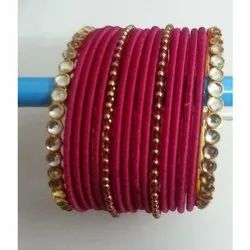 Fuchsia Silk Thread Bangle Set