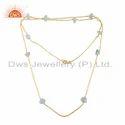 Aquamarine Gemstone Womens Gold Plated 925 Silver Necklace