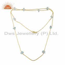 Raw Aquamarine Gemstone Silver Gold Plated Chain Necklace
