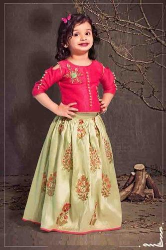 ecbfb9d23 Baby Girls Beautiful Designer Mulberry Silk Kids Party Wear Lehenga Choli