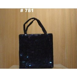 Hand Handled Black Ladies Sequin Handbags, 250gm