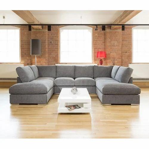 Wooden Grey Modern U Shape Sofa Set Rs, Grey Modern Sofa Set