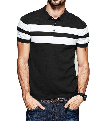 c3487a95 Men Black And White Striped Polo T-Shirt, Size: S-XL, Rs 250 /piece ...