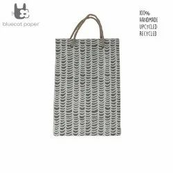 Linen Carry Bag (M) - Off-White Waves Print, Jute Rope Handles