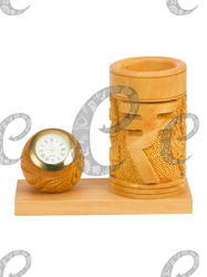 maruti handicrafts Brown Wooden Pen Stand With Clock, Size: 4