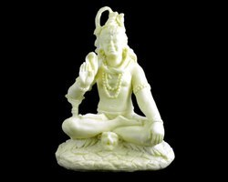 Handmade White Resin Idol Figurine Sculpture of Lord Shiva