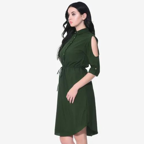 bde5e61df854 Plain Uptownie Plus Green Wrap Neck Bell Sleeves Skater Dress