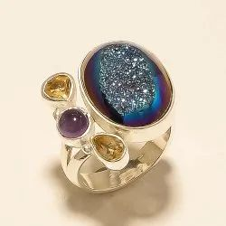 Sterling Silver Real Russian Titanium Window Druzy Ring 925
