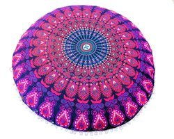 Purple Badmari Mandala Round Cushion