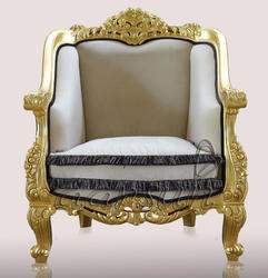 Aarsun Woods Antique Royal Gold Wooden Sofa Chair - Home Furniture, No Of Legs: 4