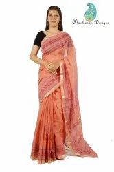 5.5 m (separate blouse piece) Alankaran Designs Women Designer Maheshwari Saree, Dimension / Size: 5.5mtr, Hand Made
