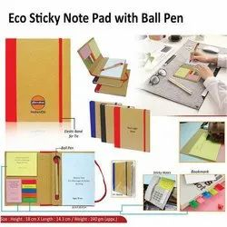 Blue Also Available Black, Red Eco Sticky Note Pad With Ball Pen