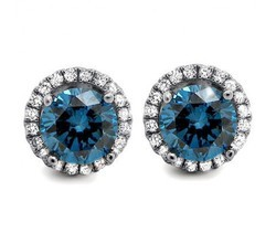 Sheetal Impex 1.50Tcw SI/Blue Color Real Natural Diamonds Stud 14Kt White Gold Fancy Diamond Earring