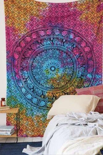 100%cotton Retangle Multi Color Tie & Dye Mandala Bohemian Cotton Wall Tapestry, Size: 85x95' inches