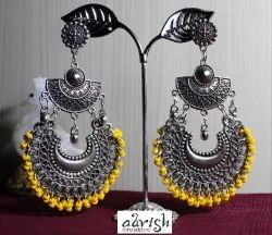 JS-31 Silver and Golden Yellow Earrings