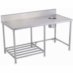 Stainless Steel Rectangular GK-90 Work Table with Garbage Chute