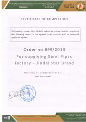 CUSTOMER SATISFACTION CERTIFICATE FROM TOWN GAS