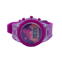 Digital Silicon Plastic Girl Lcd Wrist Watch Unicorn Horse Pink Color With Blinking Light