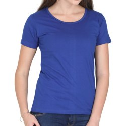 Half Sleeve Round Blue Cotton Ladies T-Shirts, Size: S - 7XL
