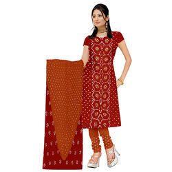 Red Print Bandhej Suit