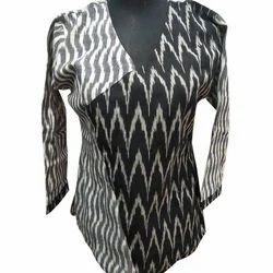 Printed V-Neck Ladies Full Sleeve Top