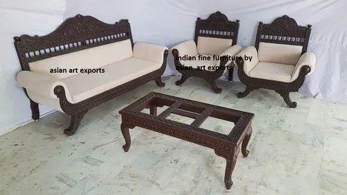 Royal Indian Rajasthani Jodhpur Hand Carved Teak Wooden Sofa Sets & Sofa, Carving Wooden Sofa, लकड़ी का नक्काशीदार सोफा सेट, वुडन कार्व्ड सोफा सेट - Asian Art Exports, Jodhpur | ID: 20514710112