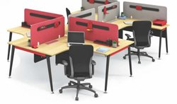 Modern teak and red Godrej work station, For Corporate Office