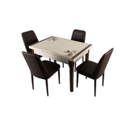 Wooden Rectangular Plastic Dining Table Set, For Home