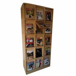 6-7 Feet Wooden Book Display Rack, 15 Shelves