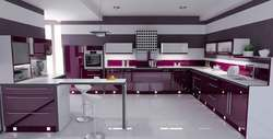 Commercial Modular Kitchen With Breakfast Table
