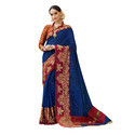 Blue & maroon Colored Festive Wear Cotton Silk Saree