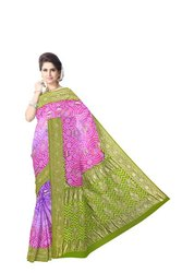 Pista Pink And Blue Color Bandhani Banarasi Georgette Saree