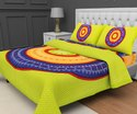Jaipuri Cotton Tc120 Mandala Printed Double Bed Sheet And Two Pillow Cover With Zip