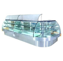 Glass And Stainless Steel White Steel Cold Display Counter With Sneeze Guard