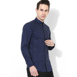 e1e1113fb Mens Cotton Full Sleeve Blue Printed Shirt