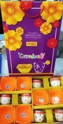 Orange Ceremic Glass Crockery Set, For Gifting