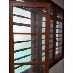 Brown Modern Aluminium Mosquito Net Window For Home