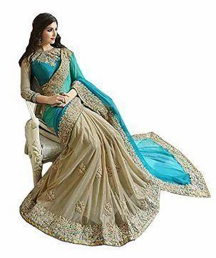 06c026837b52a8 Free Size Mayur silk mills Mayur silk mills Sky Blue Color Half& Half  Georgette Saree,