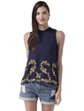 Womens Navy Top With Embroidery