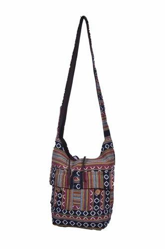 Long Handle Jacquard Shoulder Bag