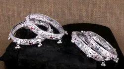 Traditional Ladies Silver Designer Bangles