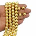 Gold Plated Brushed Round Shape Beads Strand