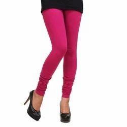 Pink Plain Ladies Cotton Legging