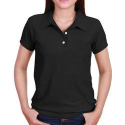 Ladies Black Cotton T-Shirt, Size: S & M