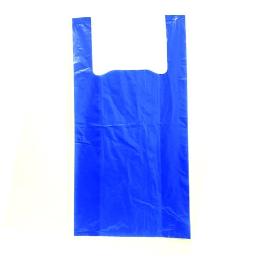 Plain Blue Plastic Carry Bag For Ping And Grocery